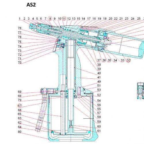 pneumatische popnageltang AS-2 onderdelenoverzicht