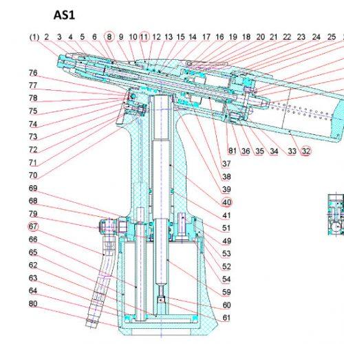 pneumatische popnageltang AS-1 onderdelenoverzicht